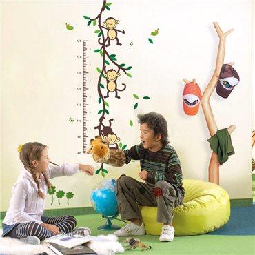 Sticker toise arbre singe et oiseaux - stickers animaux enfant & stickers enfant - fanastick.com