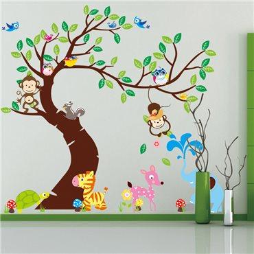 Sticker  géant pour enfant - arbre, singes et éléphant - stickers animaux enfant & stickers enfant - fanastick.com