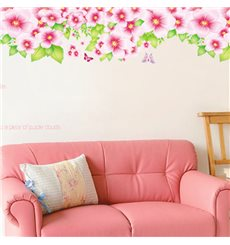 Sticker  haie, fleurs rose et papillons