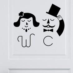 Sticker Porte WC M&Mme Chic