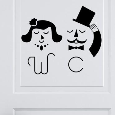 Sticker Porte WC M&Mme Chic - stickers porte & stickers deco - fanastick.com