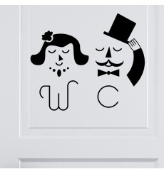 Sticker Porte WC M&Mme Chic