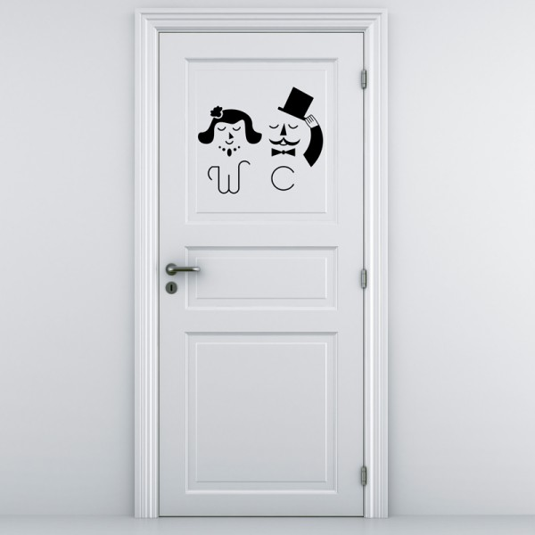Sticker porte wc m mme chic stickers porte stickers for Stickers wc porte