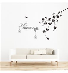 Sticker texte flowers avec branche et oiseaux