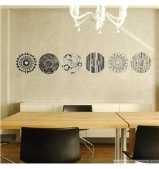 Sticker cercles designs gris et noirs