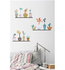 Sticker pots de fleurs sur étagères