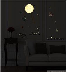 Sticker Phosphorescents Ville Chat Ballons et Étoiles