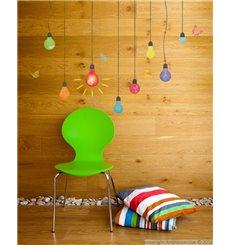 Sticker ampoules multicolores et papillons
