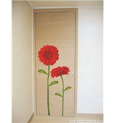 Sticker fleurs gerbera rouges