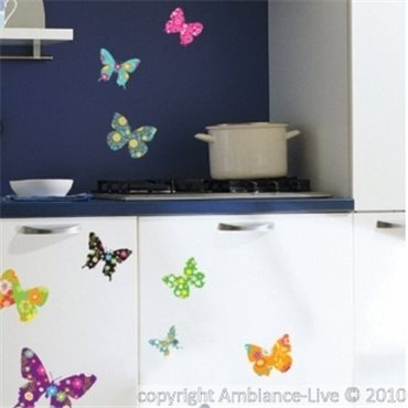Sticker papillons multicolores 2 - stickers papillon & stickers muraux - fanastick.com