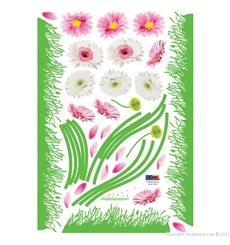 Sticker fleurs Gerbera colorées et herbe