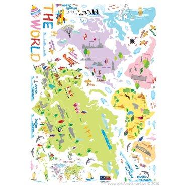 Sticker carte du monde pour enfants - stickers chambre enfant & stickers enfant - fanastick.com