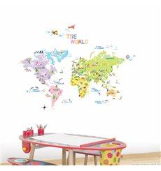 Sticker carte du monde pour enfants