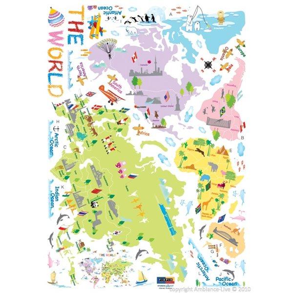 sticker carte du monde pour enfants stickers chambre. Black Bedroom Furniture Sets. Home Design Ideas