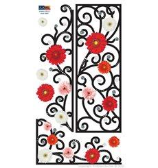 Sticker fleurs en frise