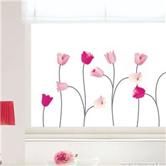 Sticker fleurs tulipes roses