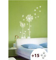 Sticker fleurs pissenlits +15 cristaux Swarovski