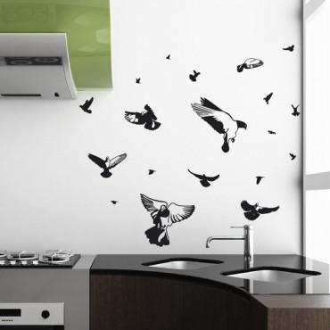 Sticker Envol de pigeons - stickers oiseaux & stickers muraux - fanastick.com
