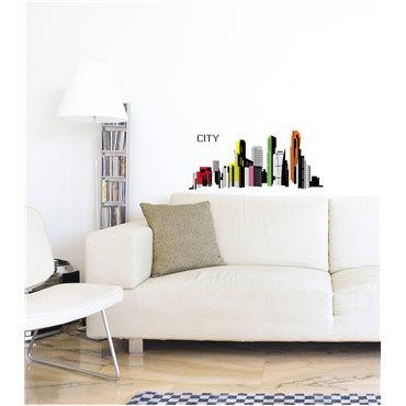 Sticker ville city colorée - stickers dans la ville & stickers muraux - fanastick.com
