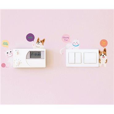 Sticker prises Chien et Chats - stickers interrupteur & stickers muraux - fanastick.com