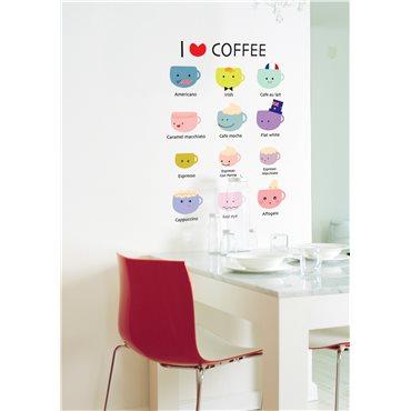 Sticker cuisine I love coffee - stickers cuisine & stickers muraux - fanastick.com