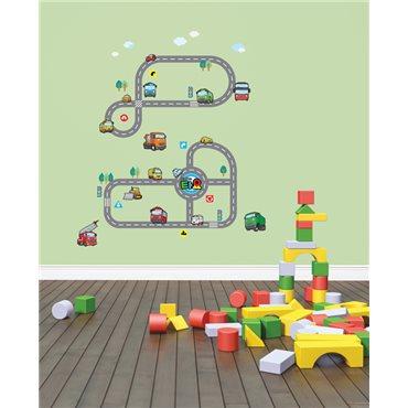 Sticker deux circuits de voitures et d'autobus - stickers chambre enfant & stickers enfant - fanastick.com