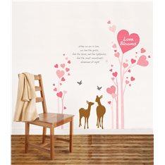 Sticker Coeurs roses et cerfs