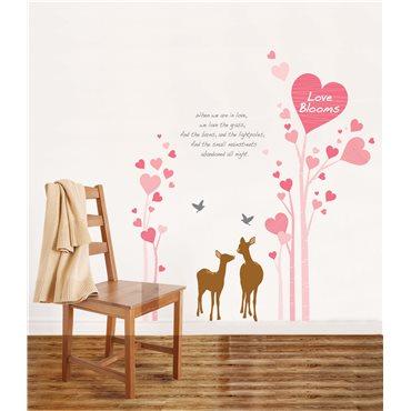 Sticker Coeurs roses et cerfs - stickers amour & stickers muraux - fanastick.com