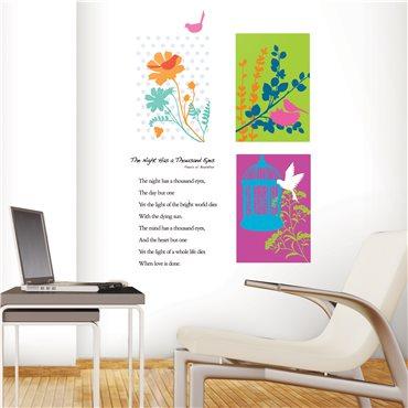 Sticker fleurs graphiques et oiseaux - stickers fleurs & stickers muraux - fanastick.com