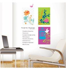Sticker fleurs graphiques et oiseaux