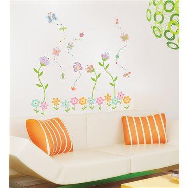 Sticker fleurs de jardin et papillons - stickers fleurs & stickers muraux - fanastick.com