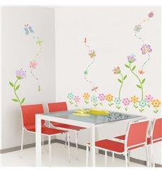 Sticker fleurs de jardin et papillons