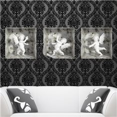 Sticker effet 3D 3 anges marbre