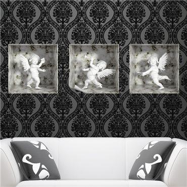Sticker effet 3D 3 anges marbre - stickers effets 3d & stickers muraux - fanastick.com