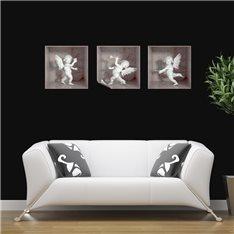 Sticker effet 3D 3 anges marbre blanc et rose