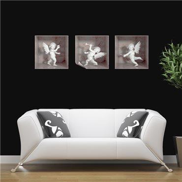 Sticker effet 3D 3 anges marbre blanc et rose - stickers effets 3d & stickers muraux - fanastick.com