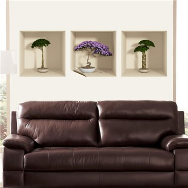 Sticker effet 3D bonsai et fleur - stickers effets 3d & stickers muraux - fanastick.com