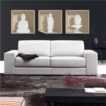 Sticker à effet 3D  Bouddha blanc - stickers effets 3d & stickers muraux - fanastick.com