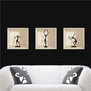 Sticker effet 3D figurines danseuses - stickers effets 3d & stickers muraux - fanastick.com