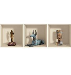 Sticker effet 3D Egypte statues et vases