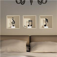 Sticker à effet 3D  Notes de musique