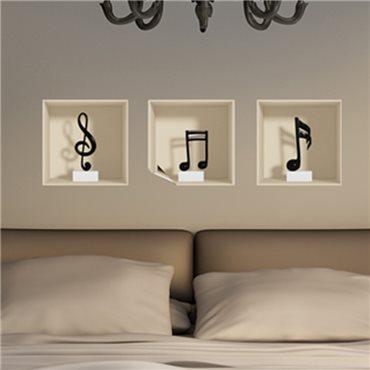 Sticker à effet 3D  Notes de musique - stickers effets 3d & stickers muraux - fanastick.com