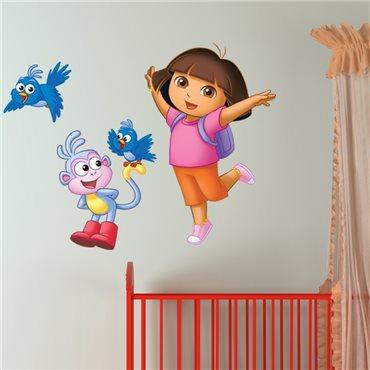 Sticker Dora avec Babouche et les oiseaux facteurs - stickers chambre enfant & stickers enfant - fanastick.com