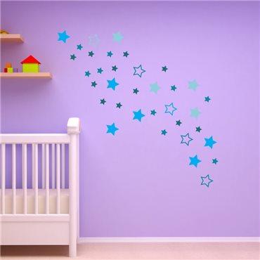 Sticker étoiles bleues - stickers enfants & stickers enfant - fanastick.com