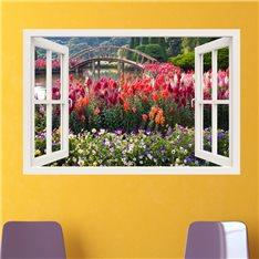 Sticker trompe l'oeil Jardin fleuri