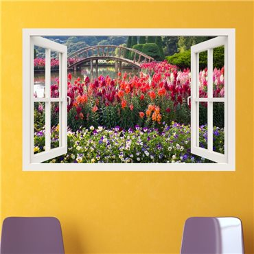 Sticker trompe l'oeil Jardin fleuri - import2503 & stickers muraux - fanastick.com