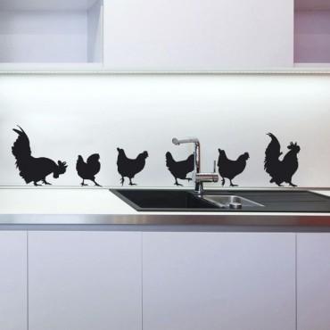 Sticker Les poules - stickers oiseaux & stickers muraux - fanastick.com