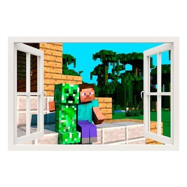 Sticker  Minecraft game, Steve and Creeper - stickers trompe l oeil & stickers muraux - fanastick.com