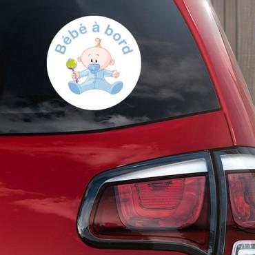 Sticker Bébé à bord garçon hochet - stickers bébé à bord & stickers muraux - fanastick.com