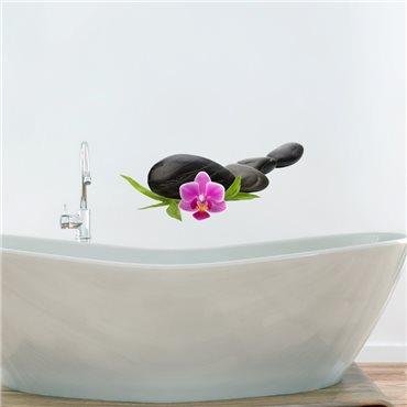Sticker ZEN Galets avec orchidée - stickers zen & stickers muraux - fanastick.com